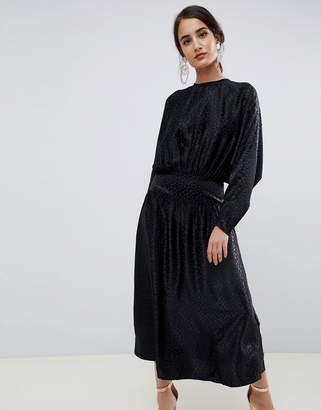 Asos Design DESIGN jacquard batwing midi dress with long sleeves