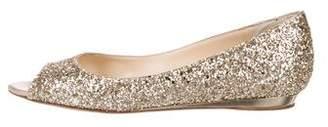 Jimmy Choo Glitter Peep-Toe Flats