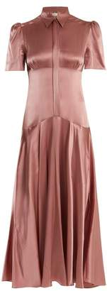 Hillier Bartley - Plimpton Panelled Silk Satin Midi Dress - Womens - Pink
