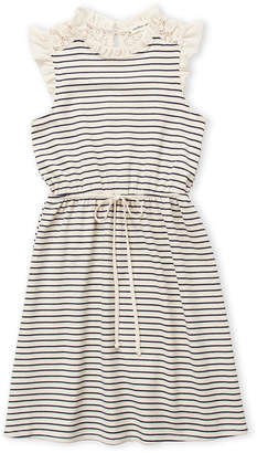 Monteau Girl (Girls 7-16) Striped Ruffle Sleeve Dress