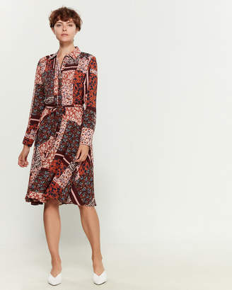 Nanette Lepore Nanette Long Sleeve Chiffon Mixed Print Shirtdress
