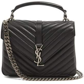 Saint Laurent - Collège Medium Quilted Leather Cross Body Bag - Womens - Black