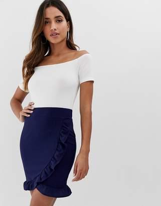 AX Paris bardot mini dress with wrap skirt