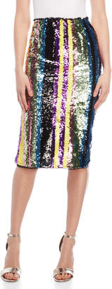 Grey Lab Stripe Sequin Midi Skirt