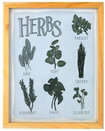 Herbs Framed Glass Flush Mount 8 x 10