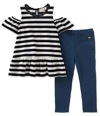 Kate Spade Two-Piece Striped Cold-Shoulder Top and Leggings Set