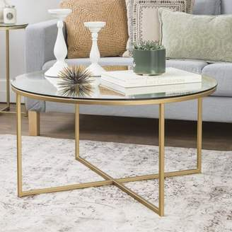 Mid-Century MODERN Manor Park 36 inch, Round with X-Base Coffee Table - Glass/Gold