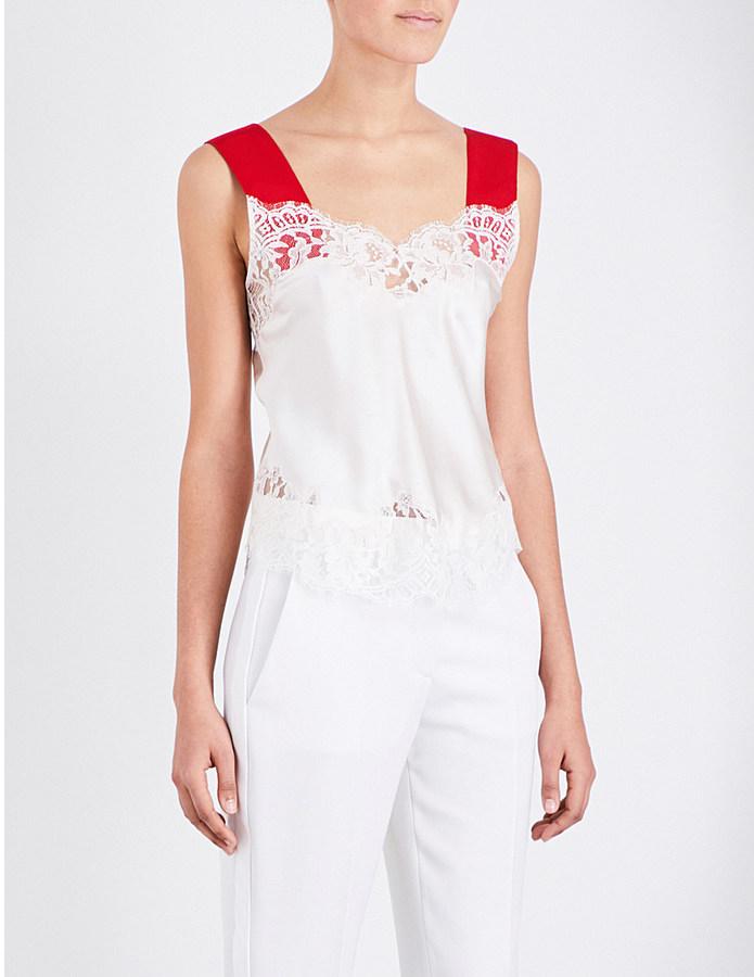 GivenchyGIVENCHY Contrast-straps silk lace top