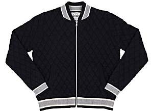 Autumn Cashmere Diamond-Quilted Knit Cotton-Blend Bomber Jacket-Navy