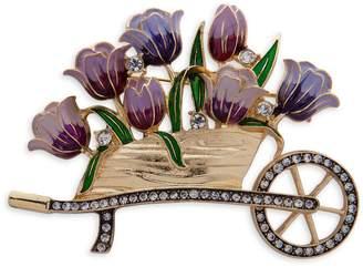 Anne Klein Basic Goldtone Crystal Flower Cart Pin