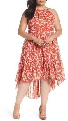 Eliza J Ruffle Hem Halter Neck Chiffon Dress (Plus Size)