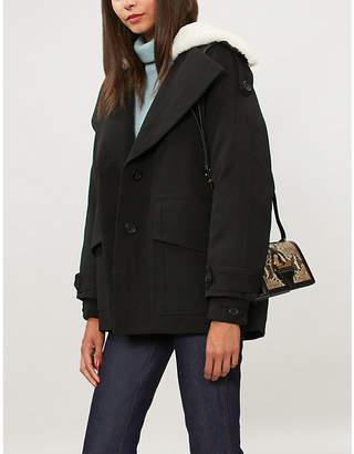 Self-Portrait Shearling-collar twill trench coat