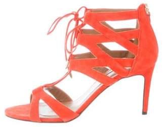 Aquazzura Suede Caged Sandals Orange Suede Caged Sandals