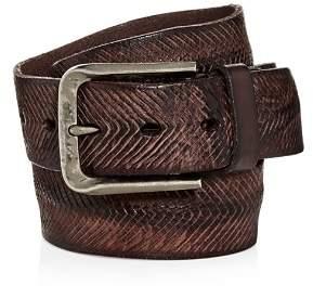 John Varvatos V-Cut Washed Leather Belt