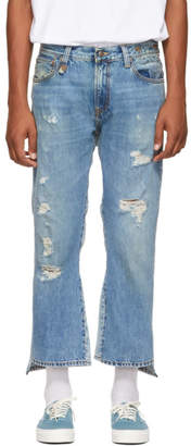 R 13 Blue Double Kick Back Jeans