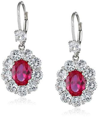 10k White Gold Created Ruby and Created White Sapphire Dangle Earrings