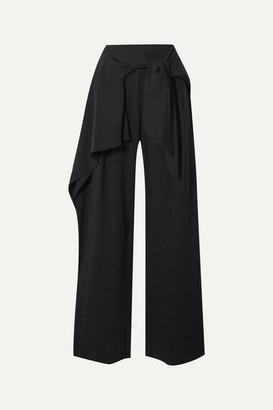 Chloé Draped Tie-front Crepe Wide-leg Pants - Black