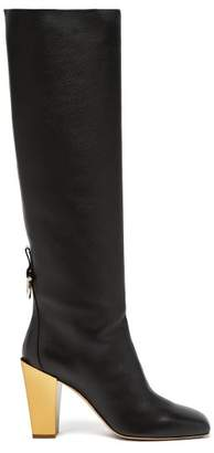 Salvatore Ferragamo Blavy Over The Knee Leather Boots - Womens - Black