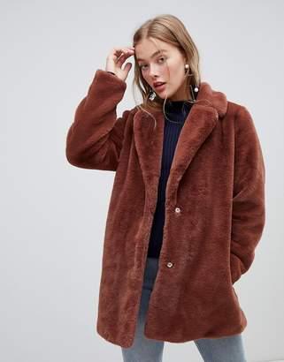 New Look faux fur coat in brown