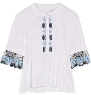 Peter Pilotto Guipure Lace -Trimmed Cotton-Blend Top