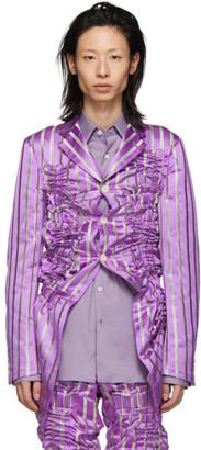 Comme des Garcons Purple Silk Satin Stripe Blazer