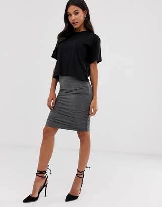 Vila gathered side mini skirt