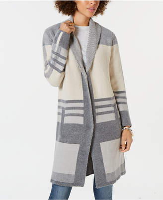 Style&Co. Style & Co Colorblocked Long Cardigan Sweater, Created for Macy's