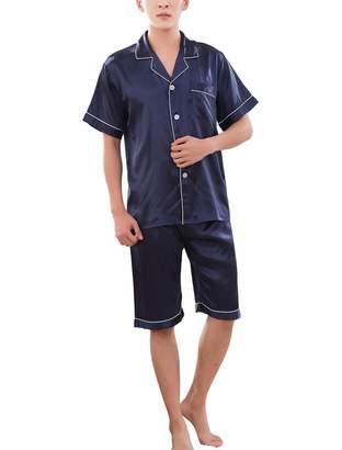 8613b246a41 Rojeam Women Summer Silk Satin Pajamas Short Sleeve Sleepwear 2 Piece Pajama  Set Loungewear
