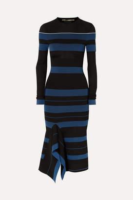 Roland Mouret Olivier Perforated Striped Stretch-knit Dress - Black