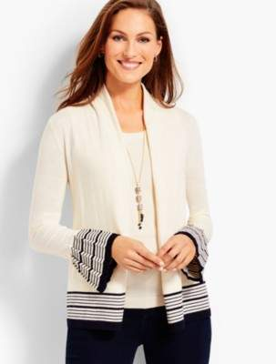 Talbots Open-Front Cardigan-Striped