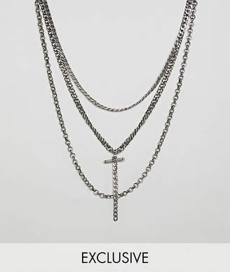 Reclaimed Vintage inspired layered necklaces in burnished silver exclusive at ASOS