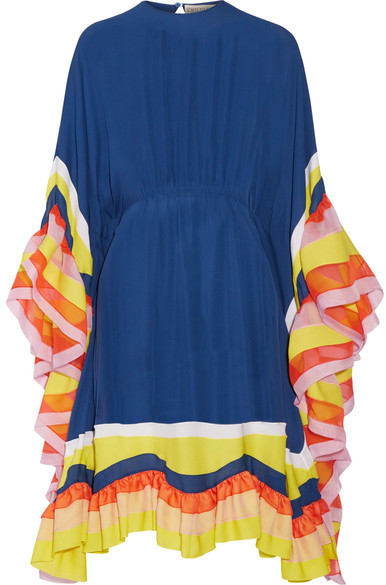 Emilio Pucci Emilio Pucci - Ruffled Chiffon-trimmed Silk-georgette Midi Dress - Royal blue