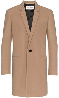 Saint Laurent single breasted virgin wool cashmere-blend overcoat