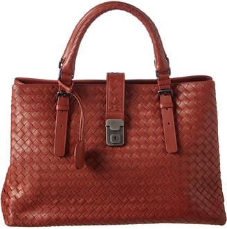 Bottega Veneta Medium Roma Prusse Intrecciato Leather Tote