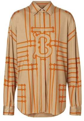 Burberry Monogram Motif Rope Print Stretch Silk Shirt
