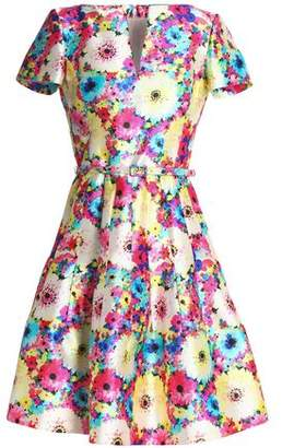 Oscar de la Renta Belted Floral-Print Silk And Cotton-Blend Faille Dress
