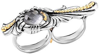 Stephen Webster Men's Silver Cat's Eye Quartz Double Finger Ring