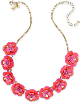 Kate Spade Gold-Tone Pink Crystal Accent Flower Statement Necklace
