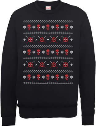 Marvel Deadpool Christmas Faces Black Christmas Sweatshirt