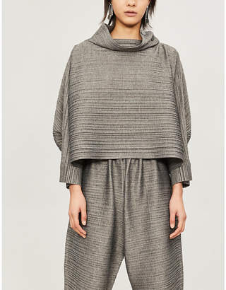 Pleats Please Issey Miyake Button-embellished pleated top