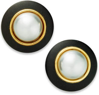 INC International Concepts I.N.C. Gold-Tone Imitation Pearl & Faux Leather Button Stud Earrings, Created for Macy's