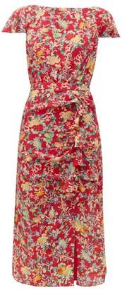 Saloni Heather Floral Print Silk Dress - Womens - Red Multi
