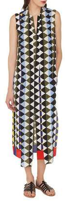 Akris Sleeveless Diamond-Print Silk Crepe A-Line Dress with Neck-Scarf