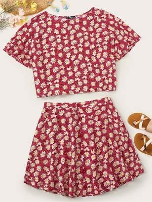 Shein Plus Floral Print Top & Button Front Skirt Set
