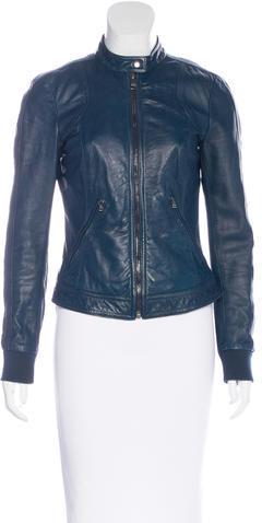 Dolce & GabbanaDolce & Gabbana Leather Zip-Up Jacket