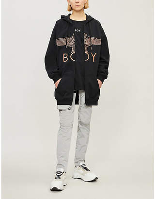 Boy London Metallic logo-print cotton-jersey hoody