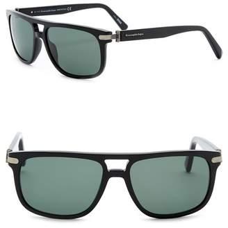 Zegna Uomo Men's Browbar 57mm Acetate Frame Sunglasses