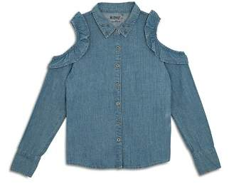 Hudson Girls' Ruffled Cold-Shoulder Chambray Shirt, Big Kid - 100% Exclusive