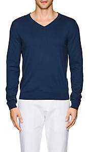 Piattelli MEN'S COTTON-BLEND V-NECK SWEATER-BLUE SIZE M