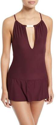 Kate Spade Crescent Bay High-Neck Plunge Keyhole Swimdress